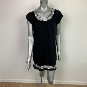 LOFT Dress Casual Embroidered Black Sz: M